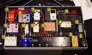 Jake's pedalboard at NHK Hall